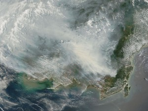 Satellite haze above Borneo