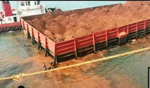 Huge bauxite tanker leaking