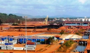 Bauxite stockpiles at Kuantan Port are largely gone. Photo Credit: GERAM