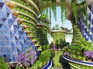 Vegetation would cascade down high-rises in a vertical forest of sorts. Photo Credit: Vincent Callebaut Architectures