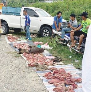 Locals in Nabawan sell bushmeat on the side of the road. Photo Credit: Daily Express
