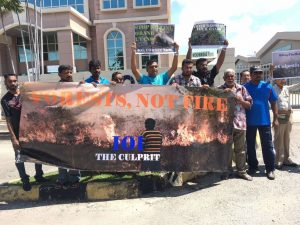Members of the Penang NatureConservation Society participate in a protest. Photo Credit: PENCONS