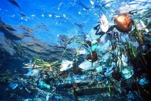Floating plastic waste foals up azure sea water. Photo Credit: Cesar Harada via Flickr