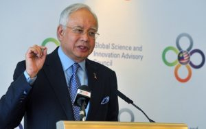 Prime Minister Najib Razak speaks at a conference in London. Photo Credit: Bernama
