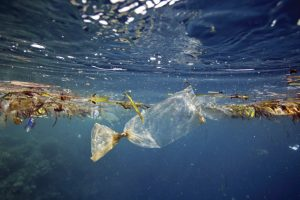 Plastic waste floats just under the surface in a sea in Southeast Asia. Photo Credit: Pixabay